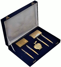 24K Gold Playing Cards, 4 Gold Plated Ball Pen, Apple Table Clock and Visiting Card Holder Gift Set