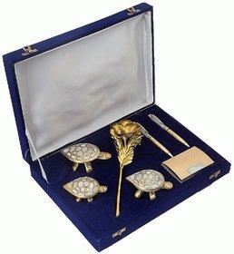 24K Gold Rose, Gold Plated Visiting Card Holder, 3 Feng-shui Tortoise And 2 Crystal Filled Gold Plated Pen Gift Set