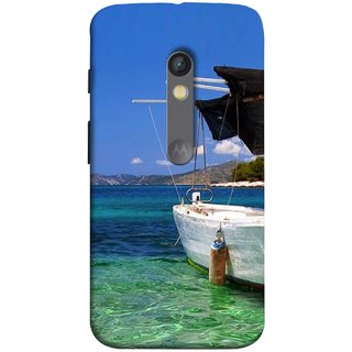 FUSON Designer Back Case Cover for Motorola Moto X Play (Boat Floating In The Clear Water Island Enjoy Holidays)