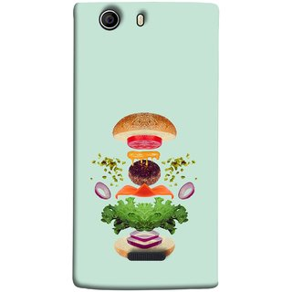 FUSON Designer Back Case Cover for Micromax Canvas Nitro 2 E311 (Flying Burger Ingredients Onion Cheese Tomatos )