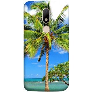 FUSON Designer Back Case Cover for Motorola Moto M (Palmtrees At The Beach Sea Blue Sky New Horizons )