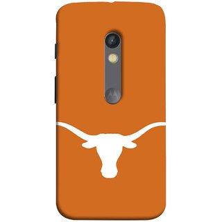 FUSON Designer Back Case Cover for Motorola Moto X Play (Stylized Black Bull Face On Mad Cow Illustration)