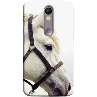 FUSON Designer Back Case Cover for Motorola Moto X Force :: Motorola Moto X Force Dual SIM (Beautiful Horse White Closeup Canvas Wallpaper)