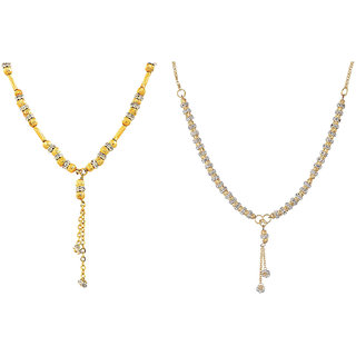 Aabhu Fashionable Combo of 2 Amercian Diamond Mangalsutra Jewellery Set for Women