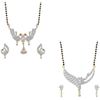 Aabhu Fashionable Combo of 2 Amercian Diamond Mangalsutra with Earrings Jewellery Set for Women