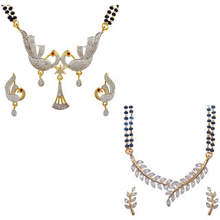 Aabhu Fashionable Combo of 2 Amercian Diamond Mangalsutra with Earrings Jewellery Set for Women