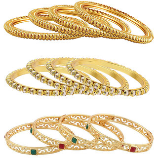 Aabhu Gold Plated Traditional Jewellery Fancy Bangles kada Set Combo of 6 Pair for Women And Girls