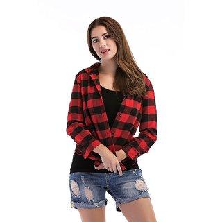 Raabta Red N Black Check Cotton Shirt for Women