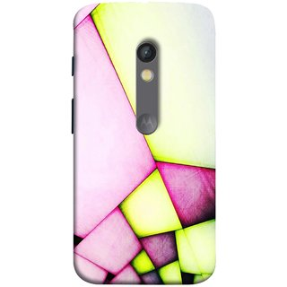 FUSON Designer Back Case Cover for Motorola Moto X Play (Red Pink Green Squares Wall Big Hall Painting )