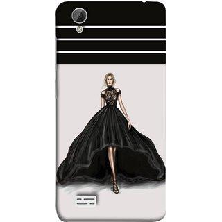 FUSON Designer Back Case Cover For Vivo Y31 :: Vivo Y31L (On Stage High Heel Cat Walk Black Dress )