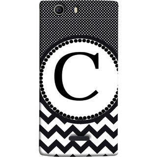 FUSON Designer Back Case Cover for Micromax Canvas Nitro 2 E311 (Alphabets Dots Black Shade Wave Patterns White)