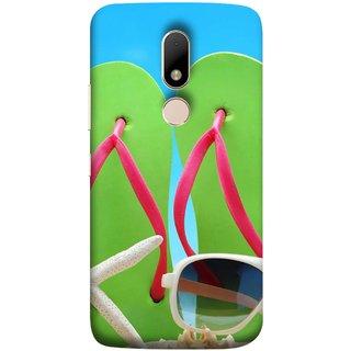FUSON Designer Back Case Cover for Motorola Moto M (Green Chappals Sand Starfish Sunny Day Sunshine)