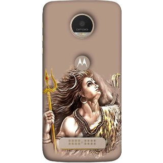 FUSON Designer Back Case Cover For Motorola Moto Z Play (Angry Lord Shiva Rudra Nag Ganga Golden )