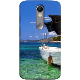 FUSON Designer Back Case Cover for Motorola Moto X Force :: Motorola Moto X Force Dual SIM (Boat Floating In The Clear Water Island Enjoy Holidays)