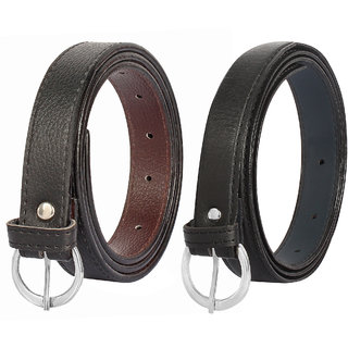 Amicraft Black Pack of 2 Colour Ladies/Girls/Womens Thin Slim Sleek Style Waist Belt
