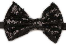 Pikaboo Big Sequin Bow Girls Headband - Black