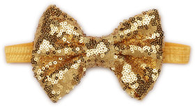 Pikaboo Big Sequin Bow Girls Headband - Yellow