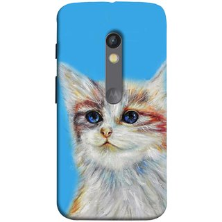 FUSON Designer Back Case Cover for Motorola Moto X Play (Dog Cat Kitten Whisker Puppy Triangle Rectangle)