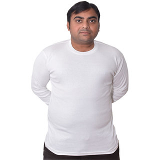 Full sleeves men tshirt in T-Shirts White color for mens