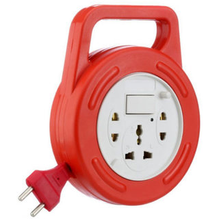 Mettle Extension Board  FLEXBOX MULTIPLUG 6 YARD WIRE 3 Socket with Switch EXTENSION CORD-Red