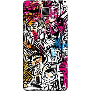 FUSON Designer Back Case Cover For Oneplus 3T (Many People Mob Looking Shouting Laughing Stars )