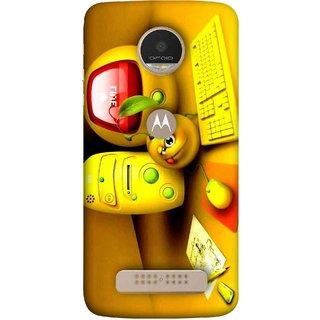 FUSON Designer Back Case Cover For Motorola Moto Z Play (Animation Bomb Red Screen Computer Table )