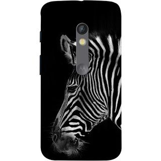 FUSON Designer Back Case Cover for Motorola Moto X Play (Close Up Portrait Of A Baby Zebra Long Ears Strips)