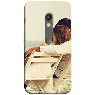FUSON Designer Back Case Cover for Motorola Moto X Play (Beautiful Husband Wife Lovers Valentines Sitting Sea Shore)