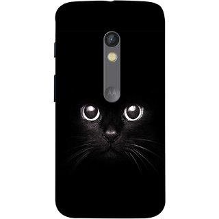 FUSON Designer Back Case Cover for Motorola Moto X Play (Black Kitty Kitten Closeup Of A Long Haired Black Cats )