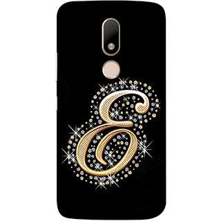 FUSON Designer Back Case Cover for Motorola Moto M (Gold Framed Alphabet Letter E Filled With Diamonds)