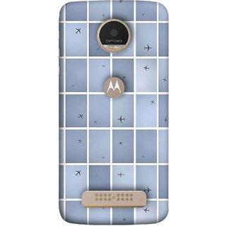 FUSON Designer Back Case Cover For Motorola Moto Z Play (Passenger Jet Airplane Flight Against Clouds Above)
