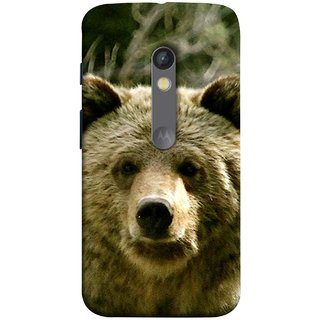 FUSON Designer Back Case Cover for Motorola Moto X Play (Bhalu Looking At You Animal Forest Green Background)
