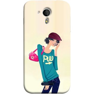 FUSON Designer Back Case Cover for Micromax Canvas Magnus A117 :: Micromax A117 Canvas Magnus (Morden Lady Tshirt Jeans Cap Beautiful Girly)