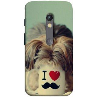 FUSON Designer Back Case Cover for Motorola Moto X Play (Dog Baby Coffee Breakfast Tea Best Morning Loyal )