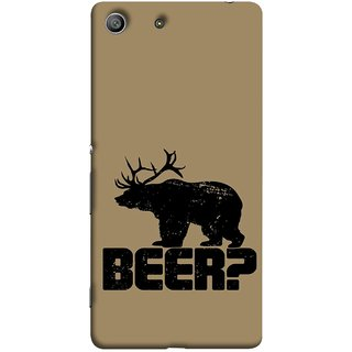 FUSON Designer Back Case Cover For Sony Xperia Z3 :: Sony Xperia Z3 Dual D6603 :: Sony Xperia Z3 D6633 (Black Bear With Horns On Coffee Colour Background)