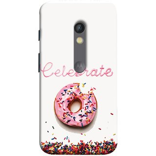FUSON Designer Back Case Cover for Motorola Moto X Play (Pink Donut Eating Lots Of Jellybeans Childrens Fevourite)