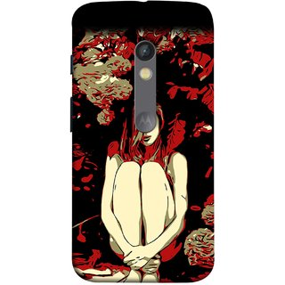 FUSON Designer Back Case Cover for Motorola Moto X Play (Photo Upset Sitting In Garden Hands Together Pub Thinking)