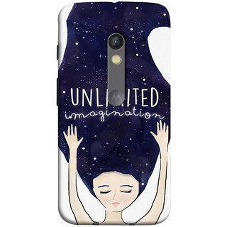 FUSON Designer Back Case Cover for Motorola Moto X Play (Girls With Long Hairs See Universe Milky Way Stars )