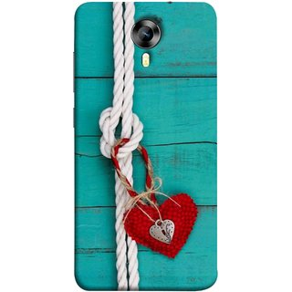 FUSON Designer Back Case Cover for Micromax CanvasNitro4G E371 (Heart Shape Rope Stuffed Toy Text Tied Knot Vintage)