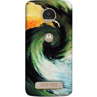 FUSON Designer Back Case Cover For Motorola Moto Z Play (Galaxy Universe Lava Icy Water Green Land )