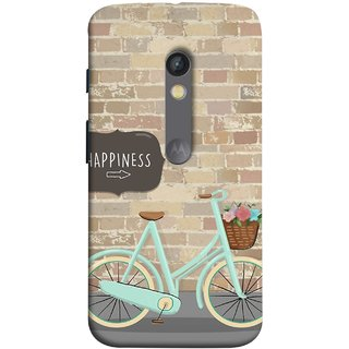 FUSON Designer Back Case Cover for Motorola Moto X Play (Bicycle Ride With Flowers And Way To Happy )