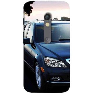FUSON Designer Back Case Cover for Motorola Moto X Play (Road Black White Clouds Beautiful Road Blue Side Mirror)
