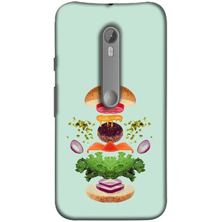 FUSON Designer Back Case Cover for Motorola Moto X Style :: Moto X Pure Edition (Flying Burger Ingredients Onion Cheese Tomatos )