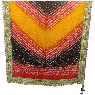 Ratnatraya Silk Bandhani Green Dupatta in Gota Patti Lace Multicolor Border With Red Hanging Latkan Chunri  Bandhej Wom