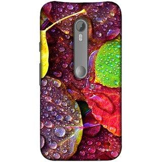 FUSON Designer Back Case Cover for Motorola Moto X Style :: Moto X Pure Edition (Big Leaf Leaves Lotus Raindrops Forest Raining Season)