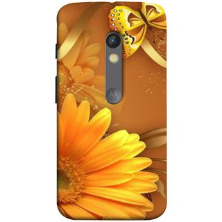 FUSON Designer Back Case Cover for Motorola Moto X Play (Butterfly Bright Beautiful Colorful Yellow Splendo Trees )