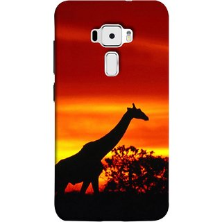 FUSON Designer Back Case Cover For Asus Zenfone 3 ZE520KL (5.2 Inches) (Africa Sunset Giraffe Evening Wildlife Animals )