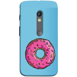 FUSON Designer Back Case Cover for Motorola Moto X Play (Cute Food Strawberry Sprinkle Donut Mini Painting)
