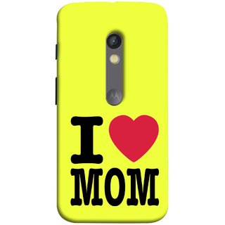 FUSON Designer Back Case Cover for Motorola Moto X Play (Yellow Background Mother Hearts Pure And True Love)