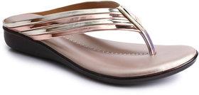 Do Bhai Women's Gold Slip On Flats